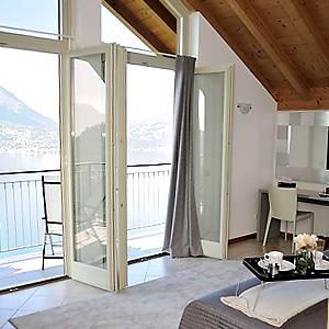 Das Bild zeigt eine Ferienwohnung mit Ausblick, Comer See.