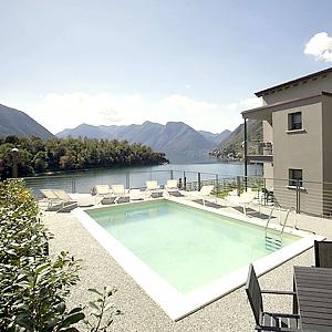 Das Bild zeigt eine Ferienwohnung mit Pool, Comer See.